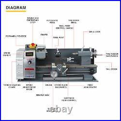 1100W 8x16 Inch 2250rpm Metal and Woodworking Mini Lathe with Brushless Motor