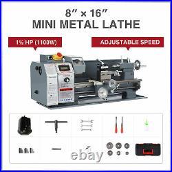 1100W 8x16 Inch 2250rpm Mini Metal Lathe w Brushless Motor for Metalwork & More