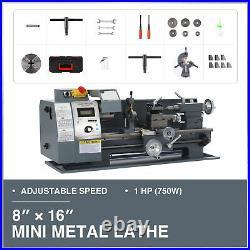 1hp 8x16 2250rpm Mini Metal Lathe w 3-Jaw Chuck for Metalwork Woodworking