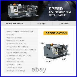 1hp 8x16 Inch 2250rpm Mini Metal Lathe w Brushless Motor 3-Jaw Chuck