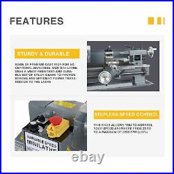 3/4 HP 7x12 2250rpm Mini Lathe Machine with Brushed Motor 3-Jaw Chuck and More