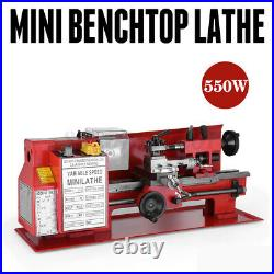 550W 0.4-2mm Precision Mini Metal Lathe withLamp Woodworking Milling Metalworking