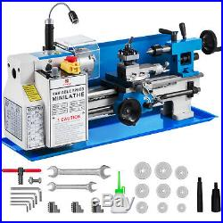 550W 7X12 Precision Mini Metal Lathe with Lamp Wear-Resistant Cast Iron Bed