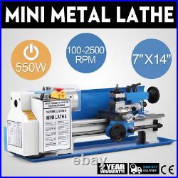 550W 7X14 Metal Mini Lathe High-Precision Benchtop Machine Variable Speed Mill