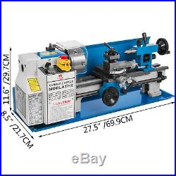 550W 7X14 Precision Mini Metal Lathe withLamp Durable Metalworking Cast Iron Bed