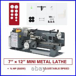 550W 7x12 Inch 2250rpm Mini Metal Lathe w Brushed Motor for Metalwork and More