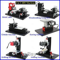 6 In 1 24W Mini Drilling Milling Grinder Metal Lathe Machine Multifunction DIY