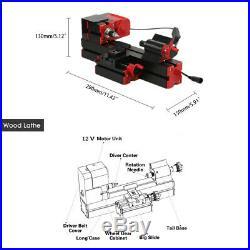 6 in 1 Mini Motorized Transformer Wood Metal Lathe Grinder DIY Hobby Tool H2C8