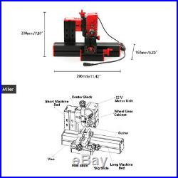6 in 1 Mini Wood Metal Motorized Lathe Machine Woodworking Turning Tool Y9R5