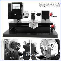 60W High Power Mini Metal Lathe Machine Woodworking DIY Tool US Plug 100-240V