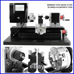 60W High Power Mini Metal Lathe Woodworking Machine Durable US Plug 100-240V S