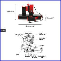 6In1 Mini Metal Lathe Tool Jigsaw Milling Lathe Drilling Sanding Machine US C3Z5