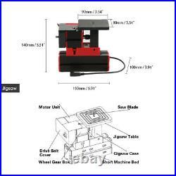 6in1 Mini Wood Lathe for Metal Grinding Woodworking Hobby DIY Tool AC