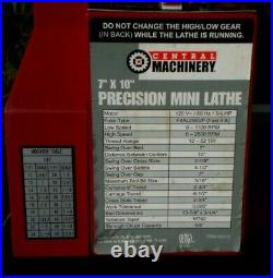 7 in. X 10 in. Precision Benchtop Mini Lathe Many Extras Central Machinery 93212
