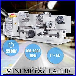7 x 14Mini Metal Lathe Machine 550W Variable Speed 0-2500 RPM Iron Body