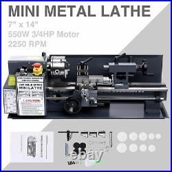 7 x 14Mini Metal Lathe Machine 550W Variable Speed 2250 RPM 3/4HP Upgraded