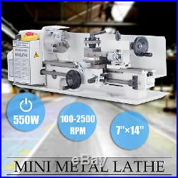 7 x 14Mini Metal Lathe Machine 550W Variable Speed with Heat-Treated Lathe Bed