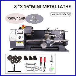 750W 8x16 Automatic Mini Metal Lathe Variable-Speed DC Motor Cutting 2500RPM
