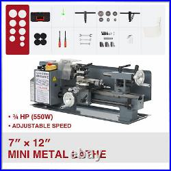 7x12 2250rpm Mini Lathe Benchtop Cutter w 550W Motor for Metal and Woodworking