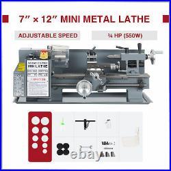 7x12 Inch 2250rpm Mini Metal Lathe w 550W Brushed DC Motor 3 3-Jaw Chuck More