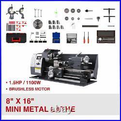 8 × 16 Auto Mini Metal Lathe 1100W Metalworking Metal Gear With9 Cutters 2 Chuck