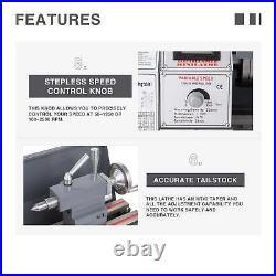 8.7 × 23.6 Metal Lathe Bench 1100W 1.5HP 5 Tools Brushless Motor Upgraded Mini