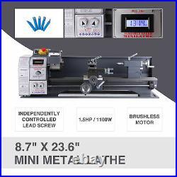 8.7 × 23.6 Motor Upgraded Metal Lathe Bench 1100W 1.5HP 5 Tools Brushless Mini