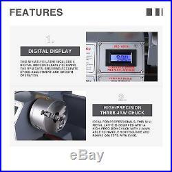 8.7 × 29.5 1100W 1.5HP Mini Metal Lathe Metal Gear Digital Display Metalworking