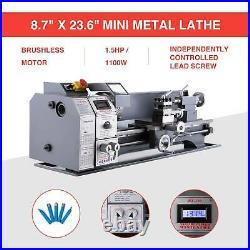 8.7x 23.6 Mini Metal Lathe 1100W Metal Gear Digital Display 5 Tools tet