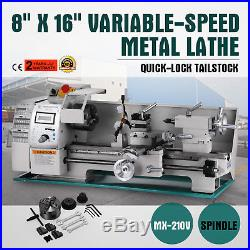 8 x 16Variable-Speed Mini Metal Lathe Processing Digital RPM Steady Rest