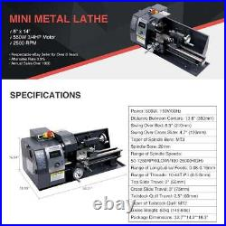 8x14 600W Variable-Speed Mini Metal Lathe Bench Top Digital Speed Display dsu