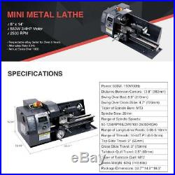 8x14 600W Variable-Speed Mini Metal Lathe Bench Top Digital With5 Turning Tools