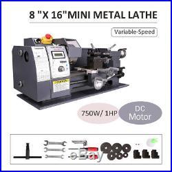 8x16 Mini Metal Lathe Variable-Speed DC Motor 750W Metalworking Woodworking