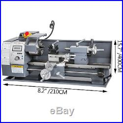 8x16 Mini Metal Lathe WithLamp&9 Cutters&2 Chucks 750W Digital Display Benchtop