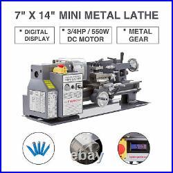 Auto Mini Metal Lathe 7 x 14 3/4HP 550W Digital Readout Metal Gear With 5 Tools