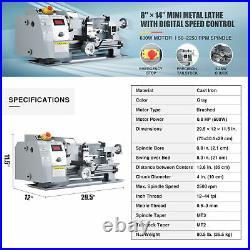 Benchtop Mini Metal Lathe Cutting Machine for Wood & Metal 8x14 600W 2500rpm
