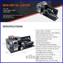 Digital Mini Metal Lathe Metalworking DIY 8x14 Bench Processing Variable Speed