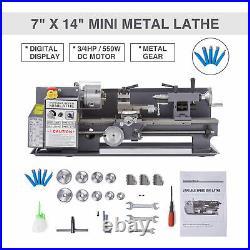 Metal Lathe 2250 RPM 550W Digital Display Metal Gear With 5 Tools Mini 7 x 14