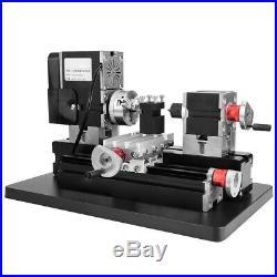 Mini Lathe 60W Power Metal Machine Woodworking Soft Metal DIY Tool Modelmaking
