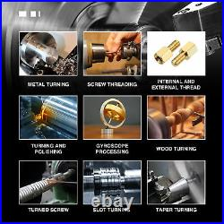 Mini Metal Lathe 7 x 14 Bench Top 3/4HP Digital Readout Metal Gear With 5 Tools