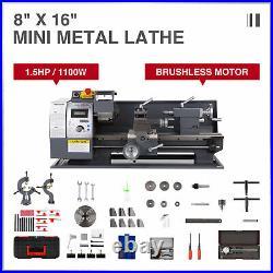 Mini Metal Lathe 8 × 16 1.5HP Digital Metal Gear Brushless Motor Full Sets