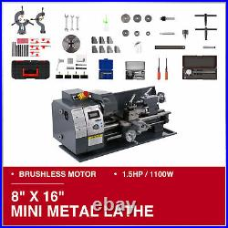 Mini Metal Lathe 8 × 16 Bench Top 1.5HP Digital Readout Metal Gear 9 Tools