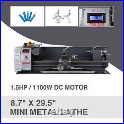Mini Metal Lathe 8.7 × 29.5 1.5HP 1100W Metal Gear Variable Speed Metalworking