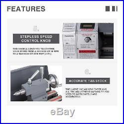 Mini Metal Lathe 8.7 × 29.5 Bench Top 1.5HP Digital Readout Metal Gear 5 Tools