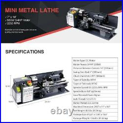 Mini Metal Lathe Bed 550W with Heat-Treated Lathe Bed Variable Speed 2250 RPM New