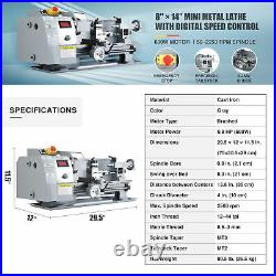 Mini Metal Lathe w 600W Brushed Motor for DIY Woodworking & More 8x14 2500rpm