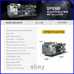 Mini Metal Lathe w 750W Brushless Motor for Woodworking & More 8x16 2250rpm