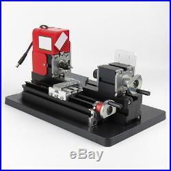 Mini Metal Motorized Lathe Machine Woodworking Power Model Making Safety DIY Use