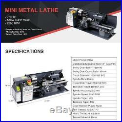 New 550W 7 x 14 Mini Metal Lathe Machine 2250 RPM High Precision Variable Speed