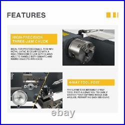 Preenex 7x12 2250rpm Mini Metal Lathe w 550W Brushed DC Motor 3-Jaw Chuck & More